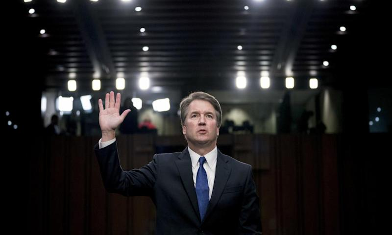 Supreme court nominee Brett Kavanaugh is sworn in before the Senate judiciary committee on Capitol Hill on 4 September.