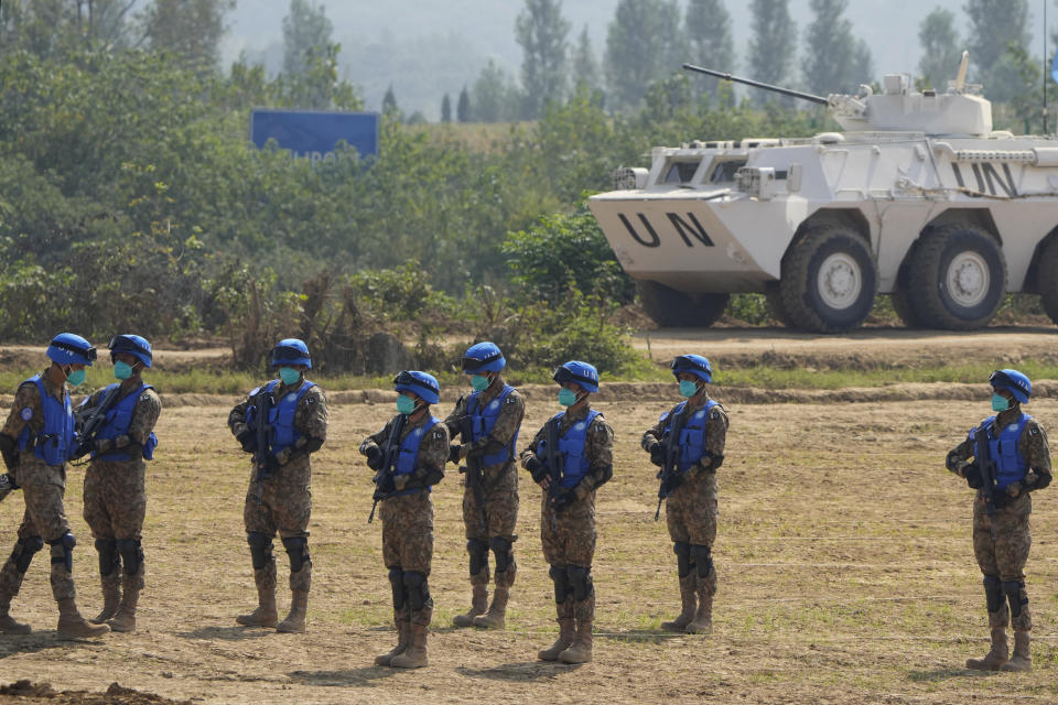 United Nations troops from Pakistan take part in the Shared Destiny 2021 drill at the Queshan Peacekeeping Operation training base in Queshan County in central China's Henan province Wednesday, Sept. 15, 2021. Peacekeeping troops from China, Thailand, Mongolia and Pakistan took part in the 10 days long exercise that field reconnaissance, armed escort, response to terrorist attacks, medical evacuation and epidemic control. (AP Photo/Ng Han Guan)
