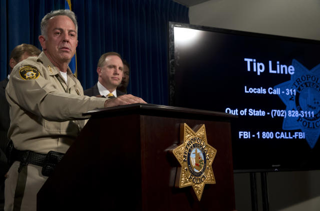 <p>Clark County Sheriff Joe Lombardo holds a media briefing at Metro Police headquarters in Las Vegas Wednesday, Oct. 4, 2017. Investigators trying to figure out the Las Vegas gunman, Stephen Paddock's state of mind have so far been stymied by the secret life he appeared to lead before the attack on a country music concert on the Las Vegas Strip Sunday. (Photo: Steve Marcus/Las Vegas Sun via AP) </p>