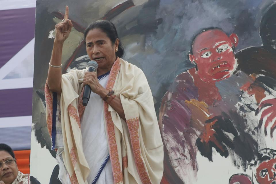 Chief minister of West Bengal state and Supremo of the Trinamool Congress (TMC) Political Party Mamata Banerjee (C) address during a rally demanding the withdrawal of the Citizenship Amendment Act and National Register of Citizens (NRC) in Kolkata, India, Friday, Dec. 20, 2019. (Photo by Debajyoti Chakraborty/NurPhoto via Getty Images)