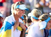Europe's Anna Nordqvist celebreates with teammates after their victory over the United States in the Solheim Cup match play golf (AFP/Maddie Meyer)