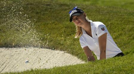 Jul 9, 2016; San Martin, CA, USA; Jessica Korda makes a shot from a bunker on the second hole during the third round of the women's 2016 U.S. Open golf tournament at CordeValle Golf Club. Mandatory Credit: Kelvin Kuo-USA TODAY Sports  / Reuters