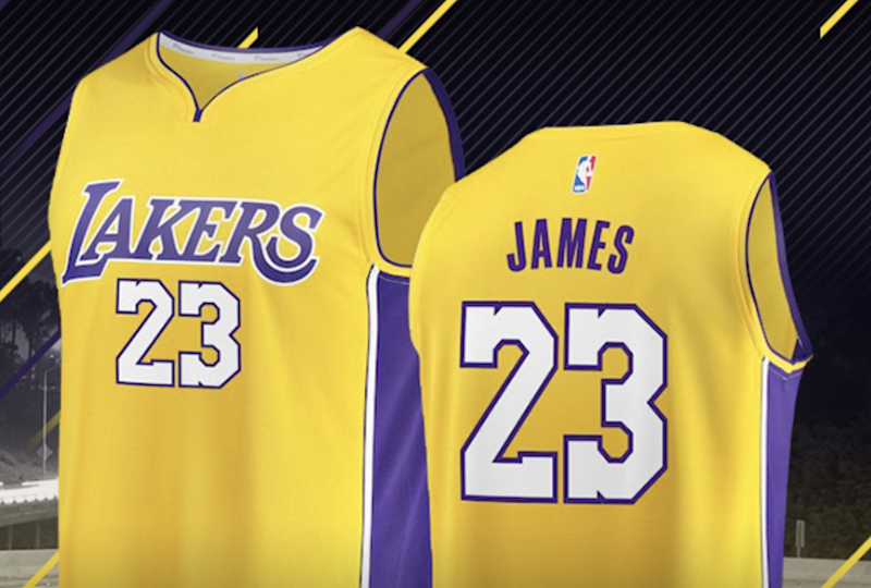 0c5d307f361 LeBron James jerseys with the No. 23 are already on sale in the Lakers  online shop, and they're really, really popular. (Lakers online shop)