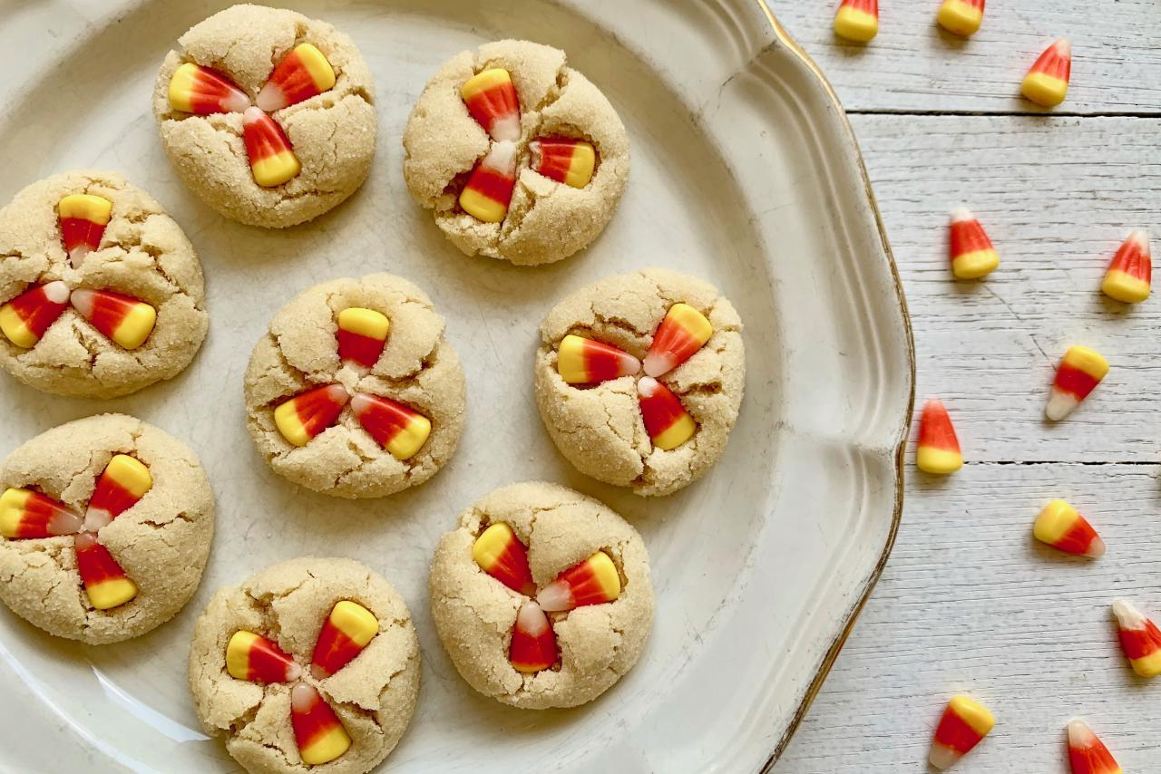 "<p><strong>Recipe: <a href=""https://www.southernliving.com/recipes/candy-corn-cookies"">Candy Corn Cookies</a></strong></p> <p>Easy homemade sugar cookies get a festive upgrade with a trio of candy corn pieces pressed into the still-warm cookies. They're the Halloween version of Grandma's beloved <a href=""https://www.southernliving.com/recipes/peanut-butter-kiss-cookies"">Peanut Butter Kisses</a>. </p>"