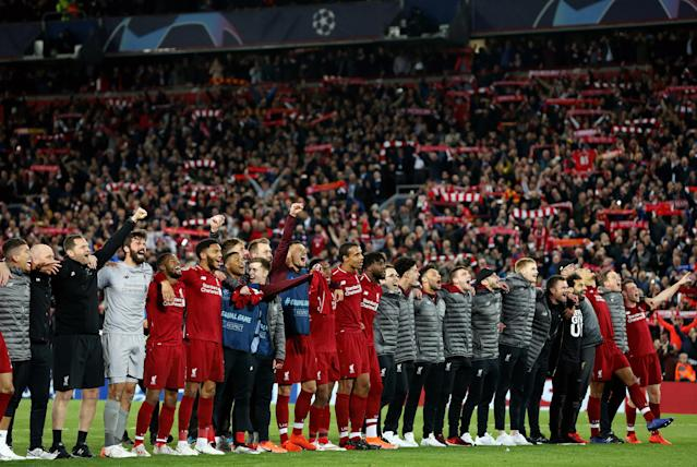 LIVERPOOL, ENGLAND - MAY 07: Liverpool players celebrate in front of their fans at the final whistle during the UEFA Champions League Semi Final second leg match between Liverpool and Barcelona at Anfield on May 7, 2019 in Liverpool, England. (Photo by Rich Linley - CameraSport via Getty Images)