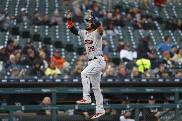 Houston Astros' Robinson Chirinos celebrates his solo home run in the second inning of a baseball game against the Detroit Tigers in Detroit, Monday, May 13, 2019. (AP Photo/Paul Sancya)