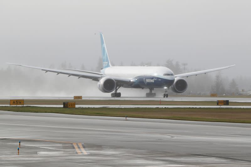 Boeing stages the first flight of its 777X plane outside Seattle