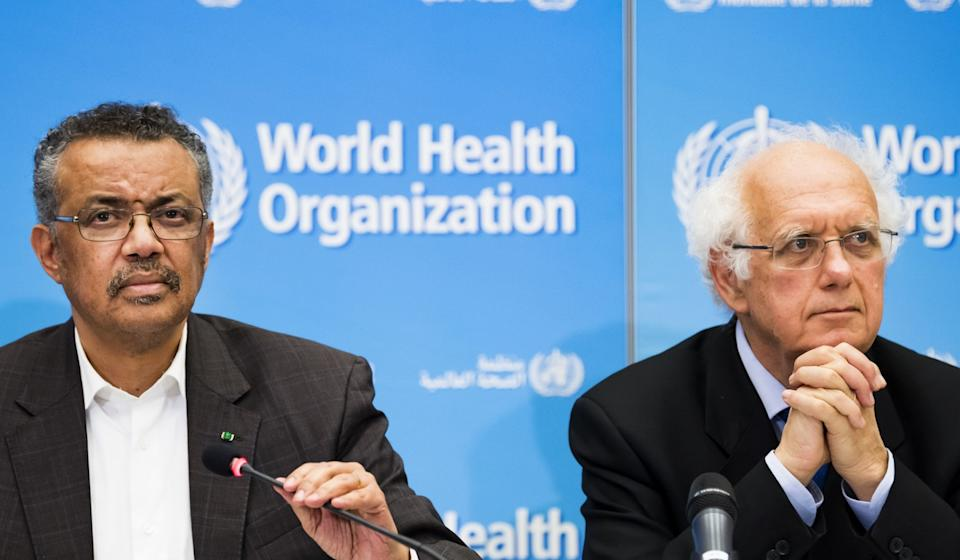 Tedros Adhanom Ghebreyesus, Director General of the World Health Organisation (WHO), left, and Professor Didier Houssin, Chair of Emergency Committee, right, talk to the media at the World Health Organisation headquarters in Geneva on Thursday. Photo: AP