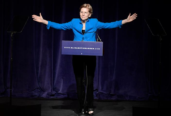 """Elizabeth Warren, United States senator from Massachusetts and one of the many Democrats running for president in 2020, speaks at the """"Community Conversation about Puerto Rico and its Recovery"""" in San Juan, Puerto Rico, Tuesday Jan. 22, 2019. (AP Photo/Carlos Giusti)"""