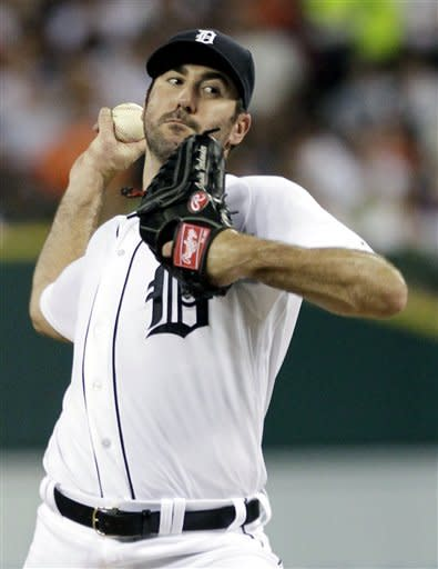 Detroit Tigers starter Justin Verlander pitches against the Chicago White Sox in the first inning of a baseball game, Sunday, Sept. 2, 2012, in Detroit. (AP Photo/Duane Burleson)