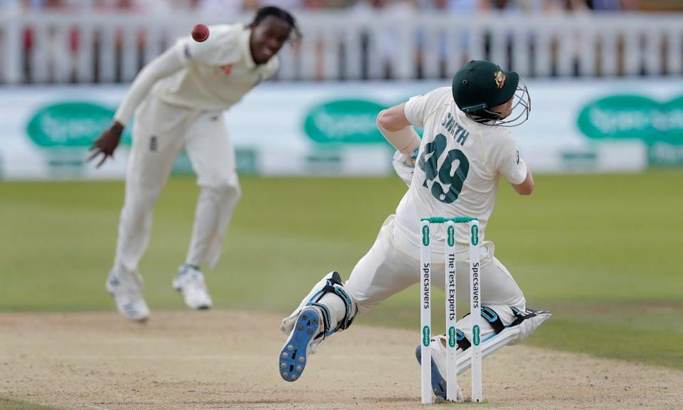 Australia's Steve Smith is hit by England's Jofra Archer in the Ashes Test at Lord's in 2019. He was replaced by a concussion substitute, although only after returning to finish his innings.