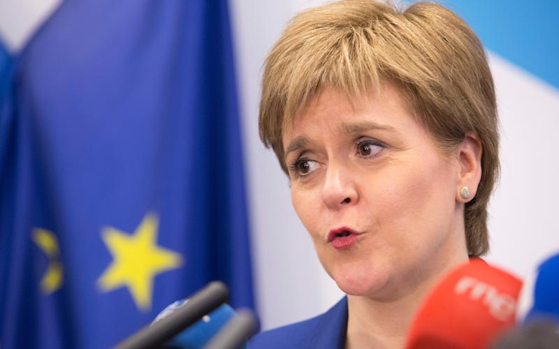 First Minister Nicola Sturgeon as she speaks during a media conference at the Scotland House in Brussels
