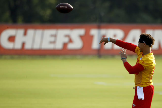 Kansas City Chiefs quarterback Patrick Mahomes had a touchdown pass in a preseason game that we'll remember a long time. (AP)