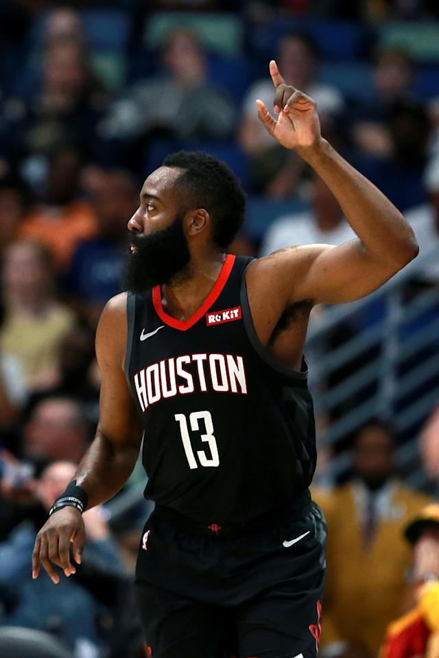 NEW ORLEANS, LOUISIANA - MARCH 24: James Harden #13 of the Houston Rockets racts after scoring a three pointer during the first half against the New Orleans Pelicans at the Smoothie King Center on March 24, 2019 in New Orleans, Louisiana. (Photo by Sean Gardner/Getty Images)