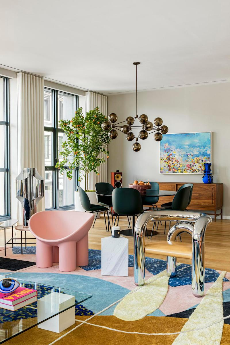 """""""I took inspiration directly from Ettore Sottsass and the 1980s Memphis movement,"""" Olivia says, which clearly lights up our hearts. She found some of the wow pieces, like Faye Toogood's pink Roly Poly chair and the Elemental glass coffee table, at a sample sale in the city."""