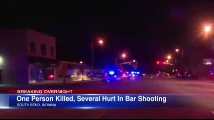 One man was killed and 10 others were injured in a shooting at a bar in South Bend, Indiana, according to police.