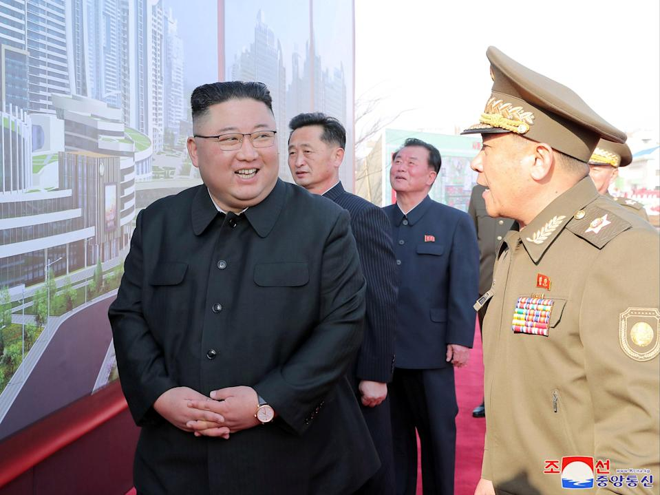 <p>North Korea's leader, Kim Jong-un, attends a ceremony to inaugurate the start of a building project in Pyongyang</p> (KCNA/Reuters)