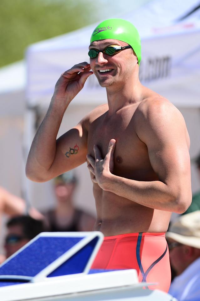 MESA, AZ - APRIL 14: Ryan Lochte prepares for the Men 100 LC Meter Butterfly prelims at Skyline Aquatic Center on April 14, 2016 in Mesa, Arizona. (Photo by Jennifer Stewart/Getty Images)