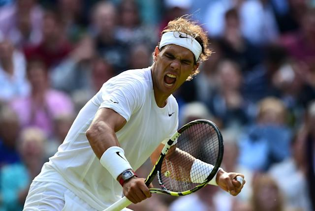Rafael Nadal celebrates during his Wimbledon match against Nick Kyrgios in London on July 1, 2014 (AFP Photo/Carl Court)