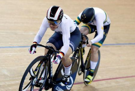 Cycling - UCI Track World Championships - Women's Sprint, Final - Hong Kong, China - 14/4/17 - Germany's Kristina Vogel competes with Australia's Stephanie Morton. REUTERS/Bobby Yip