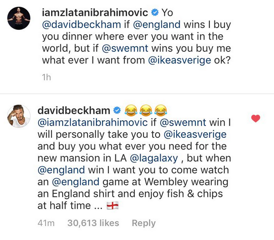 Zlatan and Becks made the bet ahead of the quarter-final tie