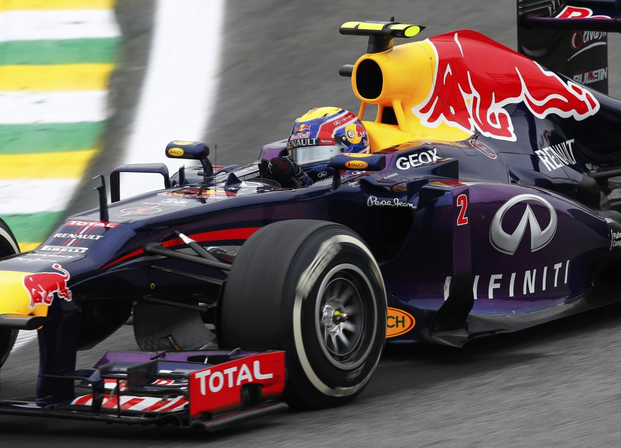 Red Bull Formula One driver Mark Webber of Australia drives during the Brazilian F1 Grand Prix at the Interlagos circuit in Sao Paulo November 24, 2013. REUTERS/Paulo Whitaker (BRAZIL - Tags: SPORT MOTORSPORT F1)