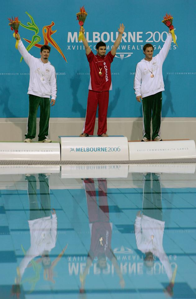MELBOURNE, AUSTRALIA - MARCH 23: (L to R) Robert Newbery (Silver) of Australia, Alexandre Despatie (Gold) of Canada and Steven Barnett (Bronze) of Australia proudly display the medals won during the Men's 3m Springboard Final during the diving at the Melbourne Sports & Aquatic Centre during day eight of the Melbourne 2006 Commonwealth Games on March 23, 2006 in Melbourne, Australia. (Photo by Mike Hewitt/Getty Images)