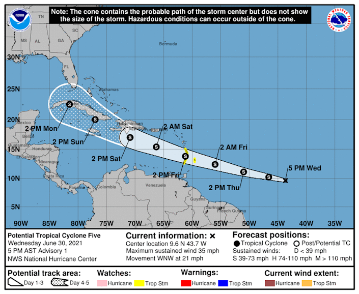 The National Hurricane Center is tracking potential tropical cyclone 5, which could strengthen into a tropical depression or tropical storm Elsa this week.