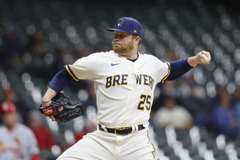 Milwaukee Brewers starting pitcher Brett Anderson throws to the St. Louis Cardinals during the first inning of a baseball game Wednesday, Sept. 22, 2021, in Milwaukee. (AP Photo/Jeffrey Phelps)