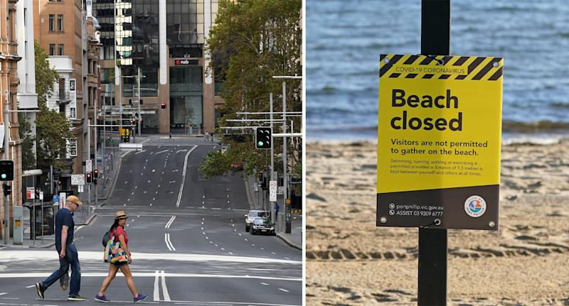 Two people walk across the street in Sydney's CBD pictured on the left. A 'beach closed' sign is seen in Victoria.
