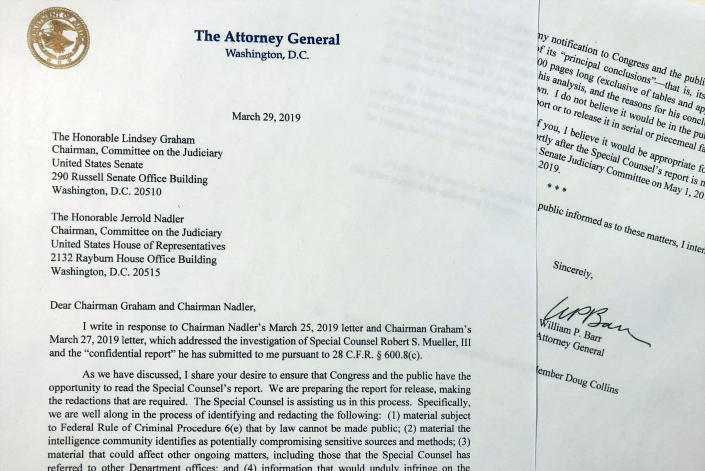 The letter that Attorney General William Barr sent to Congress on Friday, March 29, 2019, is photographed in Washington. Barr told Congress to expect a version of special counsel's Russia report by mid-April. (AP Photo/Wayne Partlow)