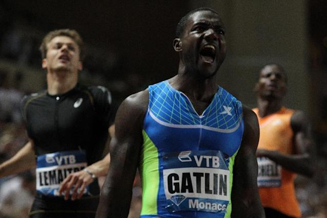 US sprinter Justin Gatlin reacts after winning the 200m men event during the IAAF Diamond League Herculis meeting at the Stade Louis II on July 18, 2014 in Monaco (AFP Photo/Jean Christophe Magnenet)