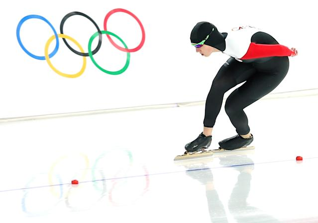 SOCHI, RUSSIA - FEBRUARY 09: Brittany Schussler of Canada competes during the Women's 3000m Speed Skating event during day 2 of the Sochi 2014 Winter Olympics at Adler Arena Skating Center on February 9, 2014 in Sochi, Russia. (Photo by Quinn Rooney/Getty Images)