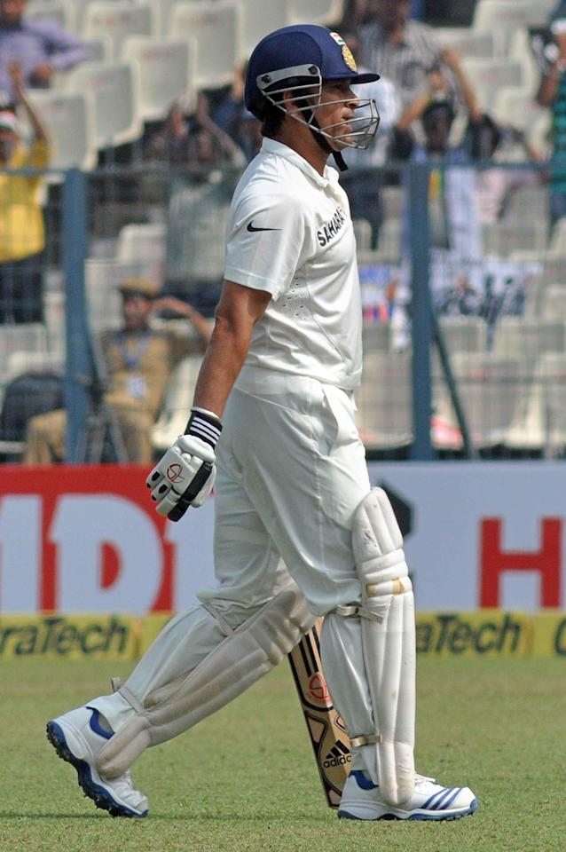 Indian batsman Sachin Tendulkar walks back to the pavilion after getting out during the 1st test between India and West Indies in Kolkata on Nov 7, 2013. ( Photo : IANS)