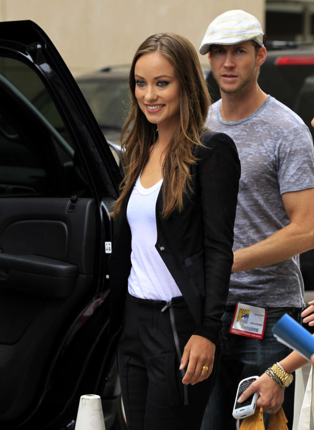 Actress Olivia Wilde and her husband Tao Ruspoli leave a hotel in San Diego