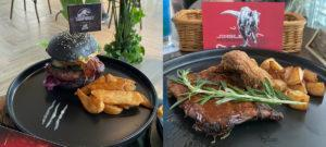 At left, the Jurassic World Burger (S) and the Christmas Meat Platter (S) at right. Photo: Coconuts