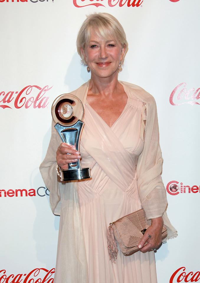 """<a href=""""http://movies.yahoo.com/movie/contributor/1800011130"""">Helen Mirren</a>, recipient of the Career Achievement award, arrives at the 2011 CinemaCon awards in Las Vegas, Nevada on March 31, 2011."""