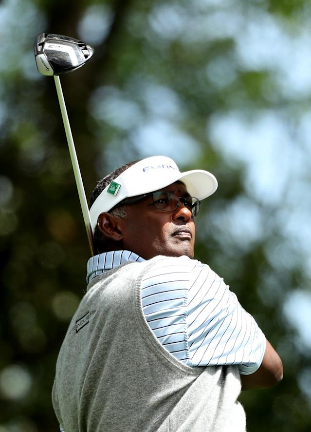 Vijay Singh of Fiji watches his drive off the second tee during second round play of the 2018 Masters golf tournament at the Augusta National Golf Club in Augusta, Georgia, U.S., April 6, 2018. REUTERS/Lucy Nicholson