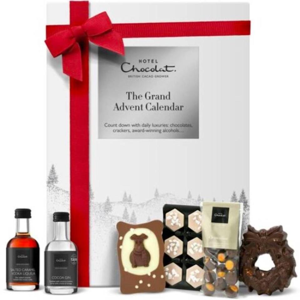 """<p>Sorry but is there anything better than the potential for a mini bottle of cocoa gin behind one door?Other goodies on offer include the Christmas Mess, classic milk chocolate truffle, and salted caramel and pecan nano slab. </p><p><strong><a class=""""link rapid-noclick-resp"""" href=""""https://go.redirectingat.com?id=127X1599956&url=https%3A%2F%2Fwww.hotelchocolat.com%2Fuk%2Flarge-advent-calendar.html&sref=https%3A%2F%2Fwww.cosmopolitan.com%2Fuk%2Fworklife%2Fg4194%2Fbest-chocolate-advent-calendars%2F"""" rel=""""nofollow noopener"""" target=""""_blank"""" data-ylk=""""slk:SHOP NOW"""">SHOP NOW</a> £68.00, Hotel Chocolat</strong></p>"""
