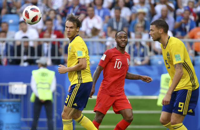 Raheem Sterling of England between Albin Ekdal and Marcus Berg of Sweden during the 2018 FIFA World Cup Russia Quarter Final match between Sweden and England at Samara Arena on July 7, 2018 in Samara, Russia. (Getty Images)