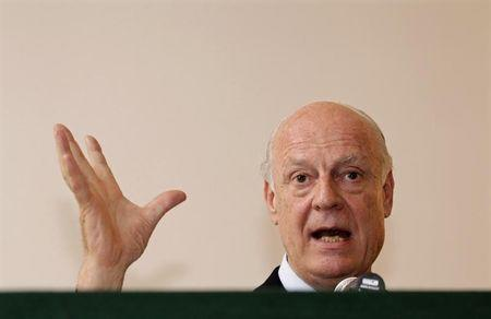 Italy's Deputy Foreign Minister de Mistura speaks during a news conference at the Italian embassy in New Delhi