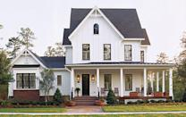"<p>Drawing on historic influences, including Victorian and Gothic Revival styles, this two-level home is certainly a head turner. A combination of lap siding and board and batten siding riffs off of traditional Cracker-style homes found in rural areas of Florida; a wraparound front porch enhances the farmhouse feel.</p> <p>4 bedrooms/ 6 baths</p> <p>3,510 square feet</p> <p><strong>See plan:</strong> <a href=""http://houseplans.southernliving.com/plans/SL1131"" rel=""nofollow noopener"" target=""_blank"" data-ylk=""slk:Kinsley Place"" class=""link rapid-noclick-resp"">Kinsley Place</a></p>"