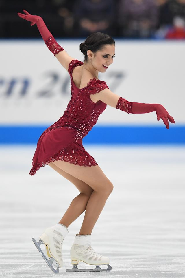 <p>Evgenia Medvedeva of Russia competes during the figure skating Japan Open at Saitama Super Arena on October 7, 2017 in Saitama, Japan. (Photo by Takashi Aoyama/Getty Images) </p>