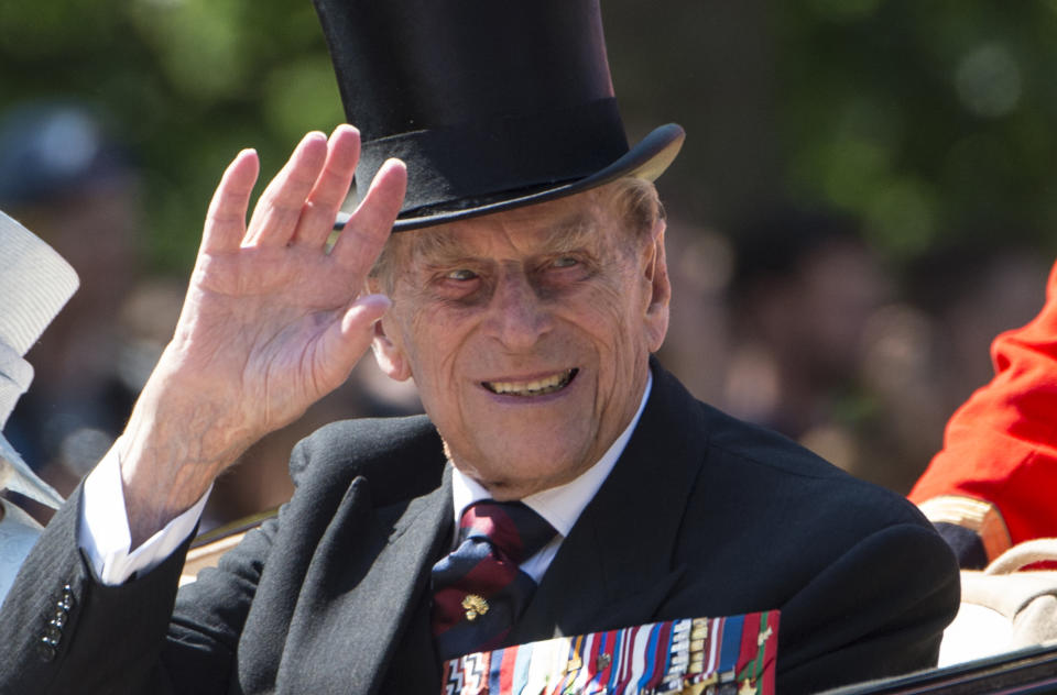 Prince Philip, Duke of Edinburgh waves to the crowd from his carriage during the annual Trooping The Colour parade on June 17, 2017 in London, England
