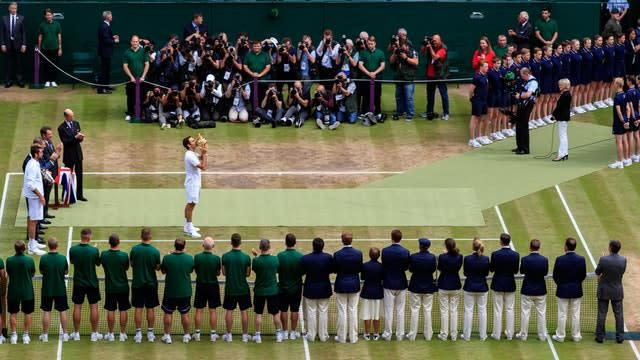 Roger Federer celebrates a record eighth Wimbledon men's singles title. The 35-year-old beat Croatian Marin Cilic 6-3 6-1 6-4 in the 2017 final, becoming the oldest man in the Open era to win at the All England Club and surpassing the achievements of Pete Sampras and William Renshaw, who won their seventh titles in 2000 and 1889 respectively (John Walton/PA)