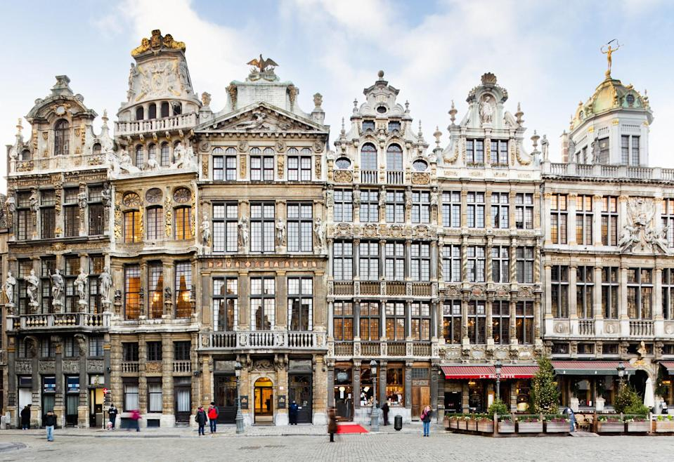 Narrow, tall buildings at Grand Place in Brussels.