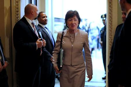 FILE PHOTO: U.S. Senator Susan Collins (R-ME) departs after the weekly Republican caucus policy luncheon at the U.S. Capitol in Washington, U.S. September 19, 2017. REUTERS/Jonathan Ernst