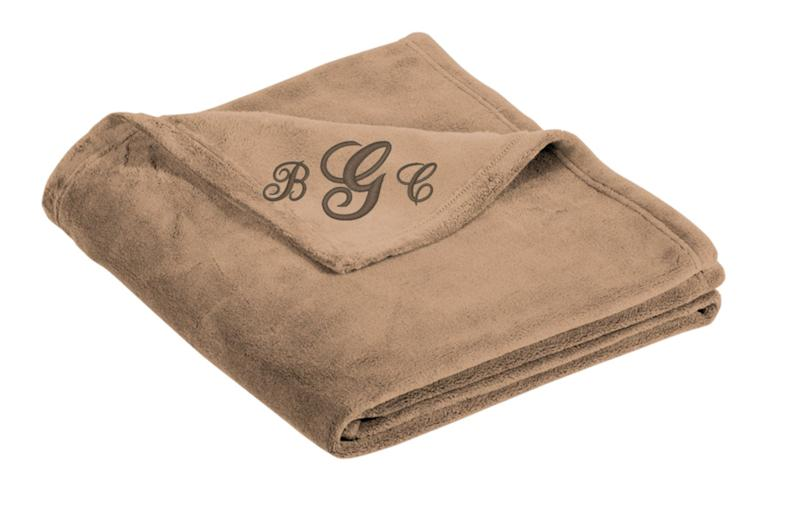 Personalized blanket with initials.