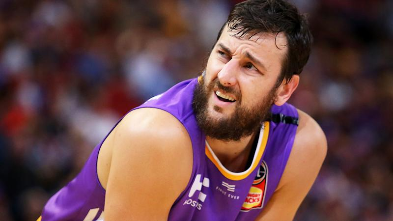 Andrew Bogut is pictured playing for the Sydney Kings during the 2019/20 NBL Finals.