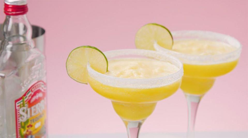 """<p>Tequila, orange liqueur, and lime juice make up a margarita, and this frozen version is perfect for warm summer days.</p><p><strong>Recipe: <a href=""""https://www.goodhousekeeping.com/uk/food/recipes/a28297623/frozen-margarita/"""" rel=""""nofollow noopener"""" target=""""_blank"""" data-ylk=""""slk:Frozen Margarita"""" class=""""link rapid-noclick-resp"""">Frozen Margarita</a></strong></p>"""